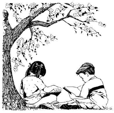 children reading under tree